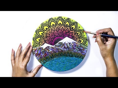 Mountain Mandala on Canvas | Mandala Art 07 | Acrylic Landscape Painting