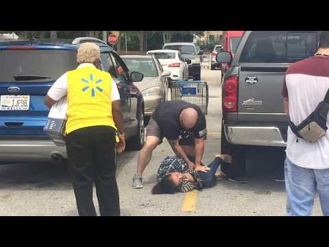 Violent take down of alleged shoplifter.