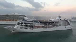 Cruise ships entering port of Civitavecchia (Rome)