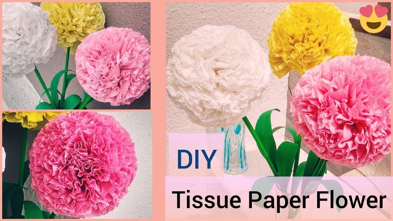 How To Make Round Tissue Paper Flower Diy Paper Craft Youtube