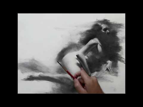 Female figure drawing demo by Zimou Tan