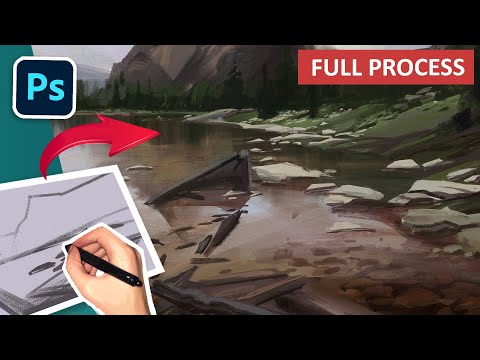 Digital Painting Tutorial! Environment Concept Art Process