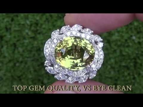 GIA Certified 12.68 Carat Natural Unheated Untreated Color Change Alexandrite and Diamond Gold Ring