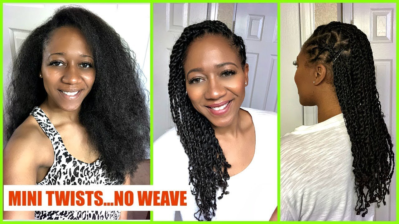 Mini Twists On Natural Hair No Weave Protective Style