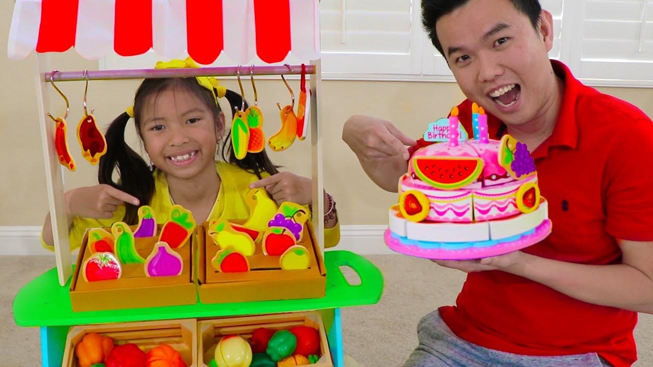 Wendy Pretend Play con comiditas de juguetes de frutas, verduras y pastel de cumpleaños