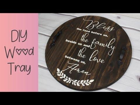 DIY Round Wood Tray | Stencil | Cricut