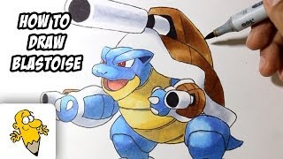 How to draw Mega Blastoise [Pokemon X/Y] drawing tutorial