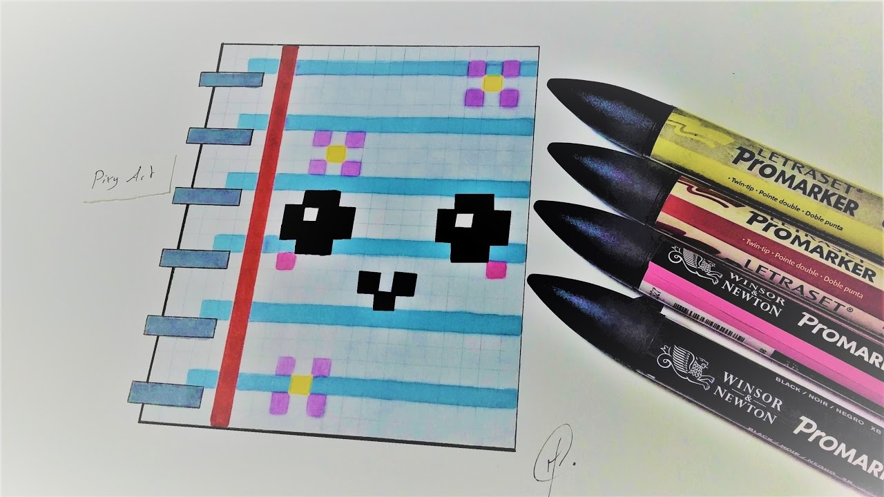 Handmade Pixel art -  Kawaii NoteBook