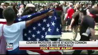 Boston ANTIFA Drags Women Holding American Flag