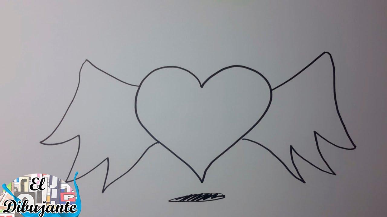 Como dibujar un coraz n con alas paso a paso el dibujante - Como hacer un corazon con fotos ...