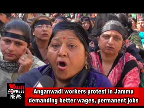 Anganwadi workers protest in Jammu demanding better wages, permanent jobs