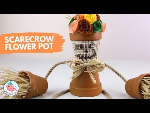 Dollar Store Fall / Autumn Crafts - DIY Scarecrow Flower Pot!