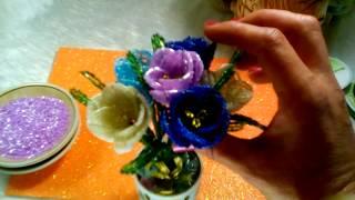 М.К как сделать КРОКУСЫ из бисера. Подарок учителю. Цветы из бисера схема