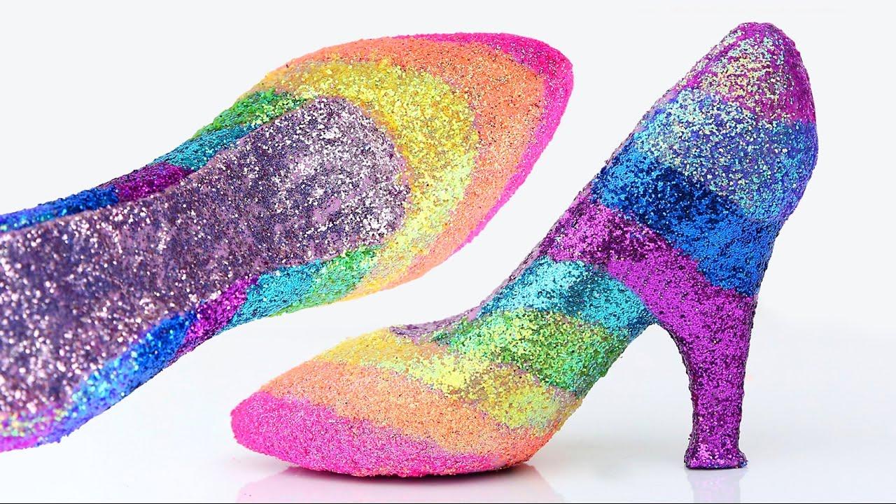 40c28e1dfb4f DIY Play Doh Disney Princess Super Glitter Rainbow Shoes Frozen Elsa Anna  Ariel