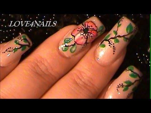 Como pintar una flor de malva roja a mano alzada youtube - Como pintar azulejos a mano ...