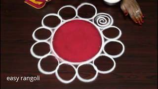 Navarathri rangoli kolam designs for day 7 with red color || Dussehra muggulu