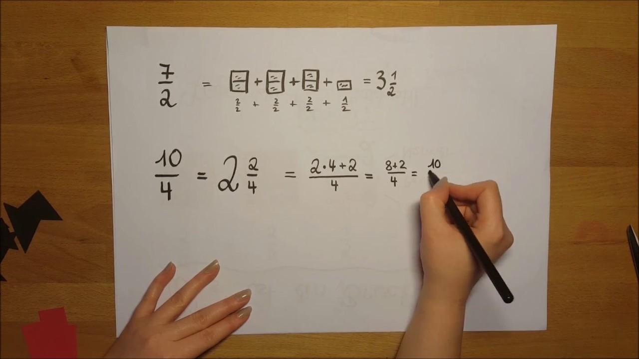 Klasse 5/6 Bruchrechnen: Gemischte Zahl umwandeln in unechten Bruch ...