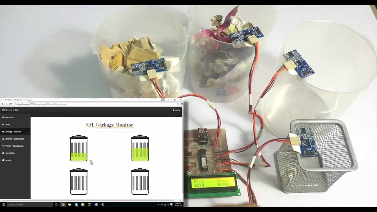 Iot Garbage Monitoring System Youtube