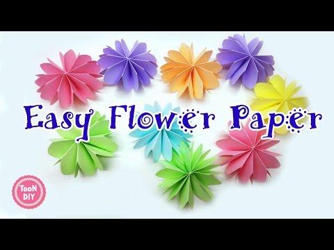 พับดอกไม้กระดาษ ดอกไม้กระดาษติดบอร์ด ตกแต่งบอร์ด Easy Paper flower 花摺紙 摺紙花--TooNDIY