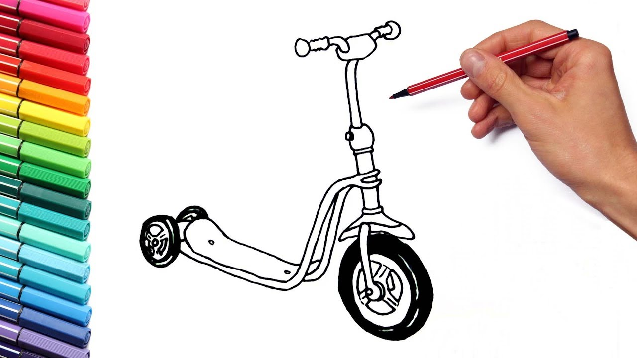 street vehicles color pages for kids drawing scooter and police