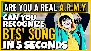 Video CAN YOU RECOGNIZE 15 BTS SONGS IN 5 SECONDS | KPOP GAME download MP3, 3GP, MP4, WEBM, AVI, FLV Mei 2018