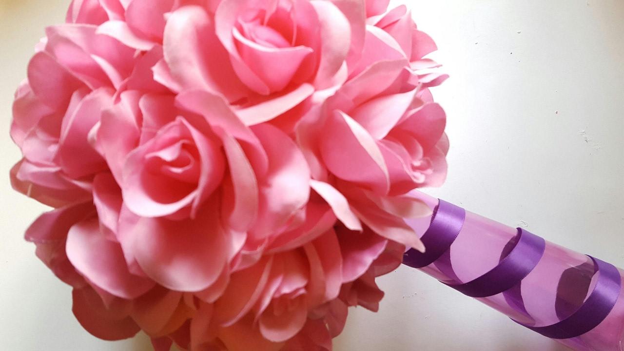 DIY PINK ROSE WEDDING VASE - DOLLAR TREE CRAFTS - YouTube