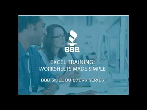 BBB Skill Builders Series - Excel Training: Worksheets Made Simple