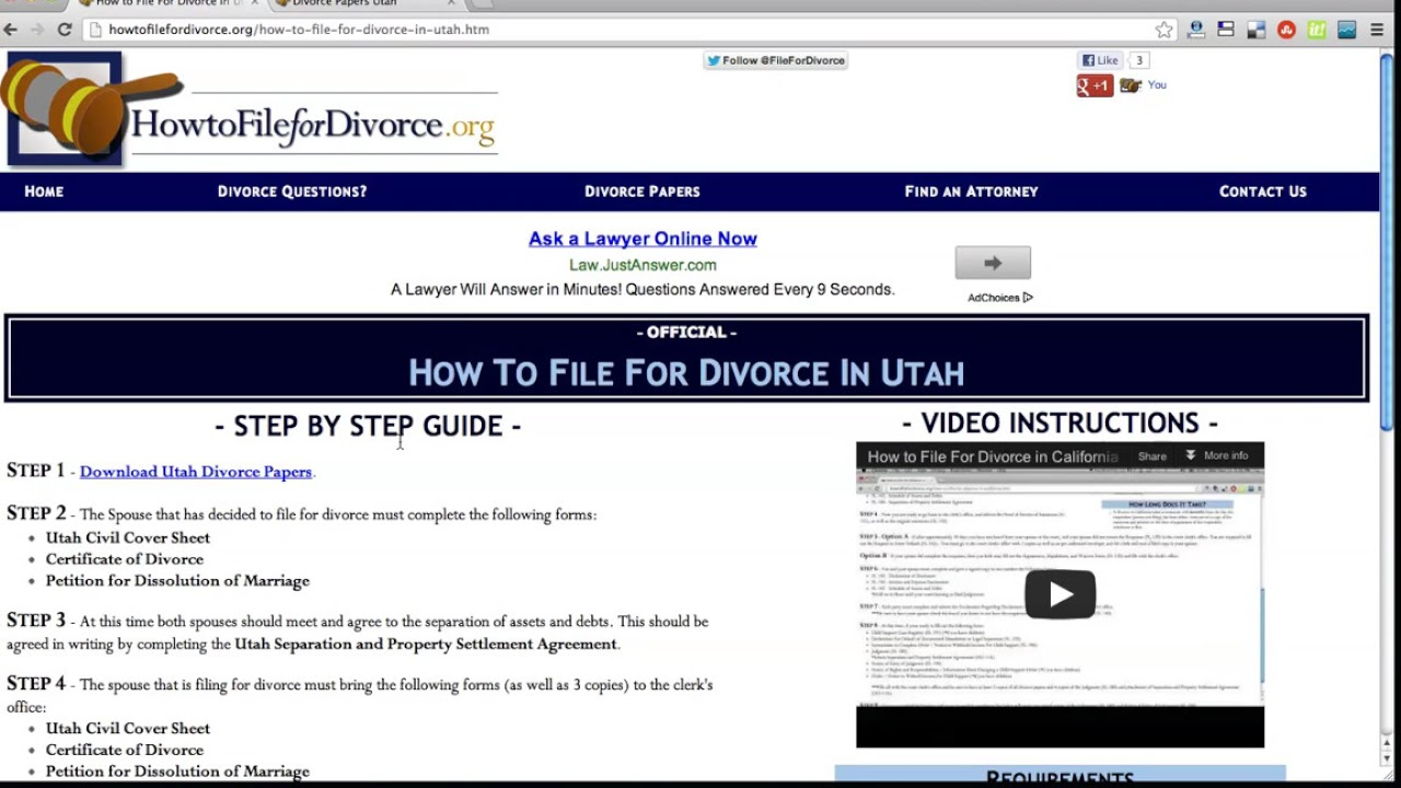 Free Utah Divorce Papers and Forms - YouTube