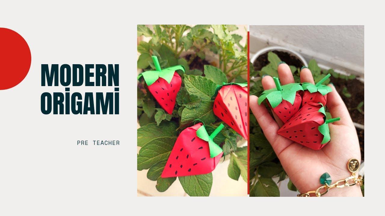 Origami Tekniği İle Çilek Yapımı🍓