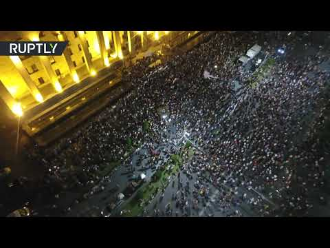 Drone Captures Crowds Of Anti-gov. Protesters In Tbilisi, Georgia