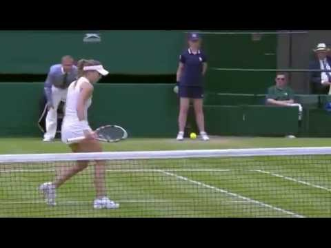 Bouchard beautiful backhand - Wimbledon 2014