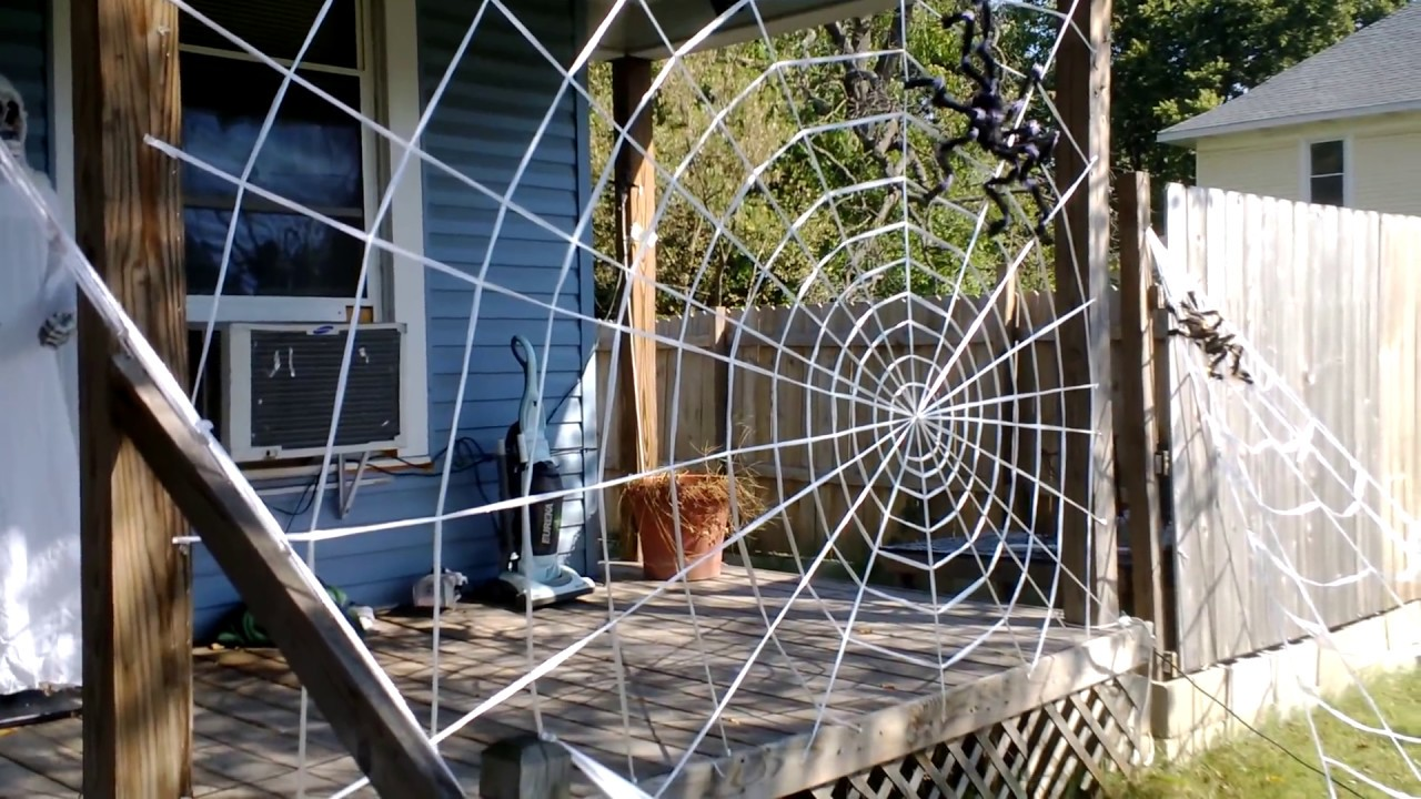 amazing spiderweb decoration homemade halloween youtube - Halloween Spider Web Decorations