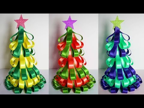 how to make tabletop christmas tree with ribbon simple easy christmas decorating ideas