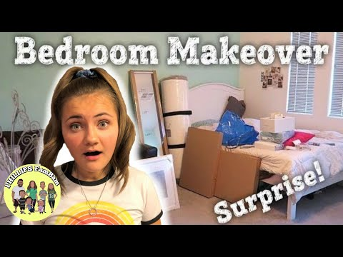 SURPRISE BEDROOM MAKEOVER (TIME LAPSE) | ASHLYNN'S REACTION | PHILLIPS FamBam Vlogs