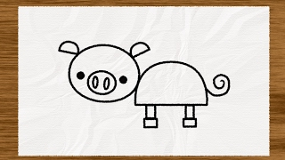draw simple shape pig sketches