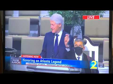 Bill Clinton's Great Speech At Hank Aaron Memorial At Friendship Baptist Church January 27, 2021