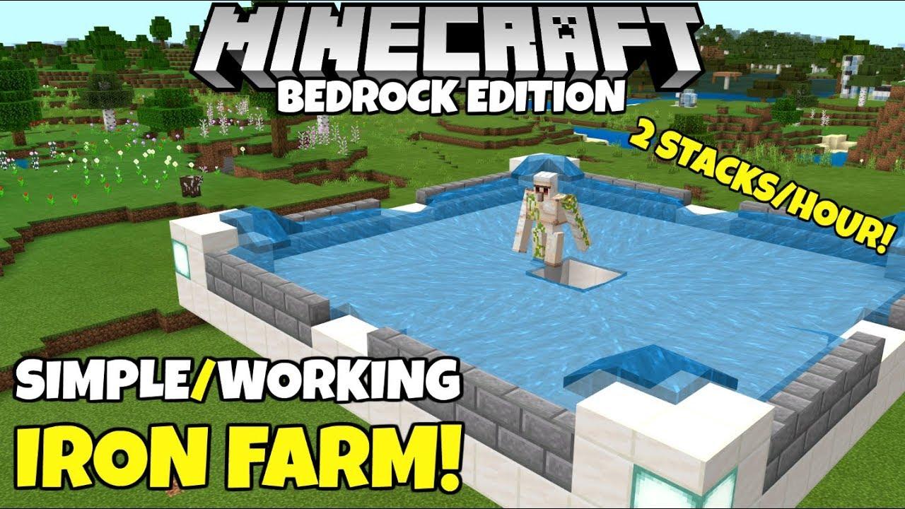 Minecraft Bedrock: Simple Iron Farm! Up To 16 Stacks/hr! Village And Pillage  Update
