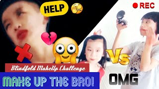 My Both Crazy Sisters Torture Me With Blindfold Makeup Challenge