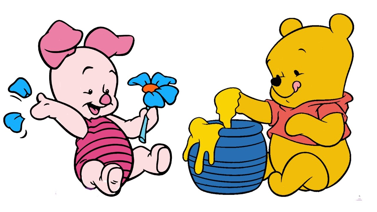 Disney Coloring Book Winnie The Pooh Baby Pages For Kids Piglet Video