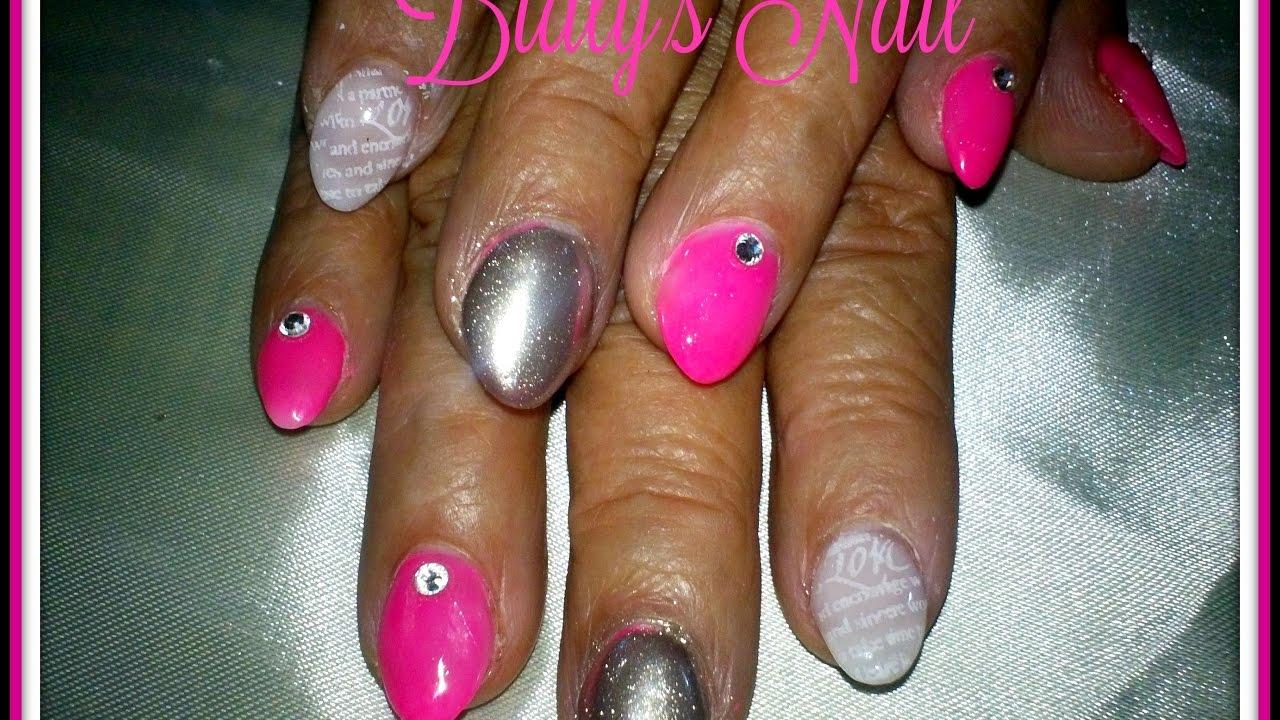diseño de uñas rosa + efecto espejo + efecto humo en blanco. - YouTube