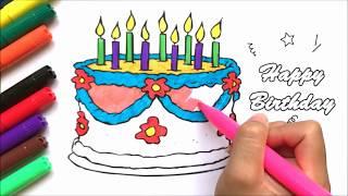 Tô màu bánh sinh nhật Birthday & CONAN - Coloring birthday cake, learn colors (Chim Xinh)