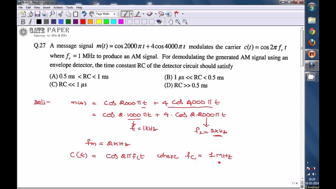 Gate 2012 Ece Time Constant Of Envelope Detector Amplitude Modulation Circuit