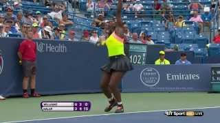 4 straight unreturned serves from Serena
