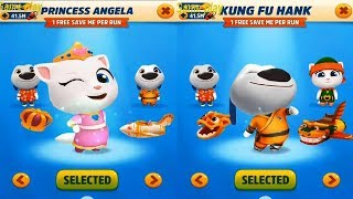 Talking Tom Gold Run PRINCESS ANGELA VS  KUNG FU HANK Catch the Raccoon