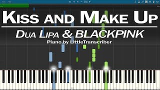 Dua Lipa & BLACKPINK - Kiss and Make Up (Piano Cover) Synthesia Tutorial by LittleTranscriber