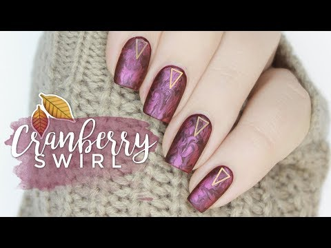Cranberry Swirl Nail Art | Easy Fall Marble Nail Design