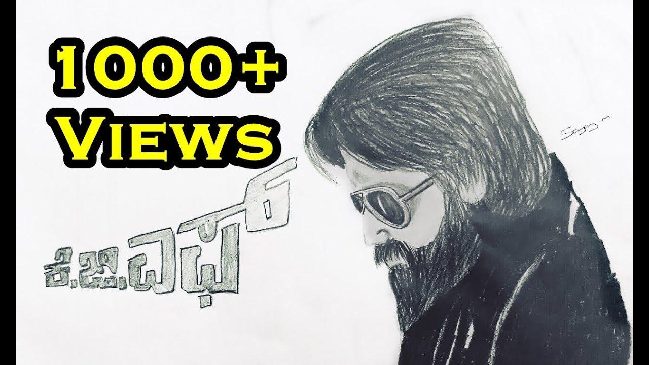 Yash K G F Poster Speed Sketch Drawing Rocking Star Yash Fanart Sanjay M Arts Youtube