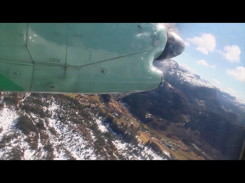 Widerøe Dash 8-100 Førde-Oslo Safety, Takeoff, Inflight, Landing WF188