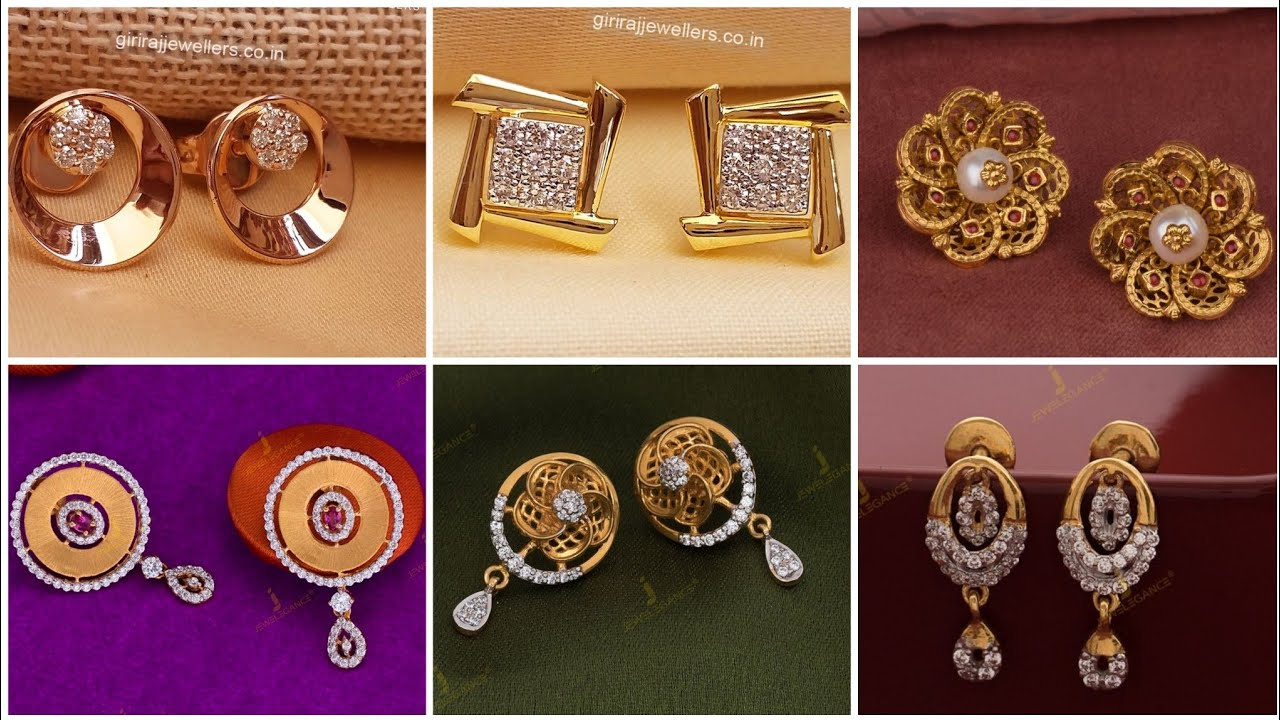 Most Stylish And Stunning Gold Studs Designs//Gold Minimal Earstuds Designs