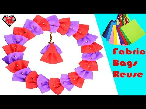 DIY Shopping Bags Wallmate | Tissue Bags Wall Hanging | DIY Fabric Bags Wreath For Christmas